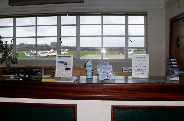 Shoreham Airport terminal check-in desk