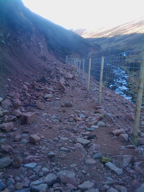 Landslip on new landrover track by the Water of Aven