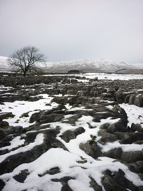 Snow covered limestone pavement, Fell Close