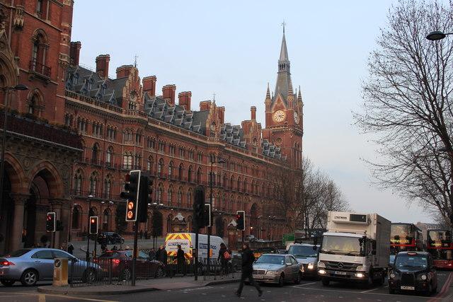 St Pancras Station and Euston Road
