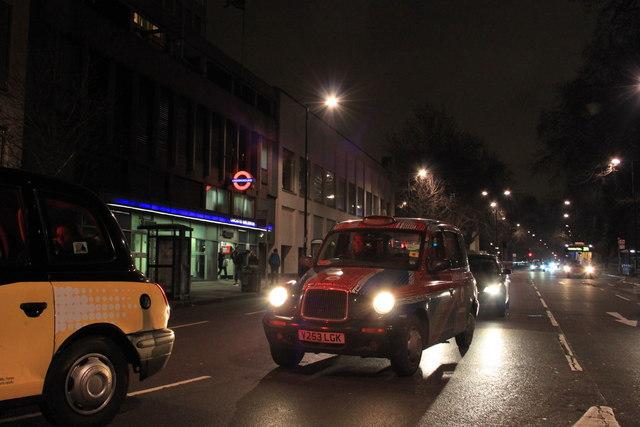 Lancaster Gate underground station at night
