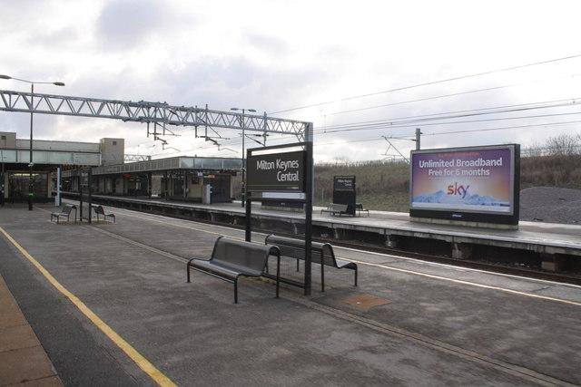 The northwest end of Milton Keynes Central station