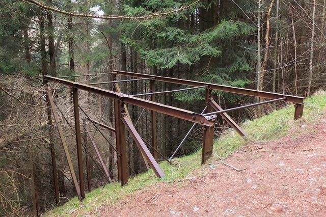 Metal framework by forest track, Kirnie Law
