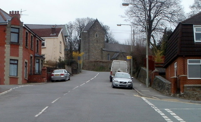 Top (north) end of Church Street, Bedwas