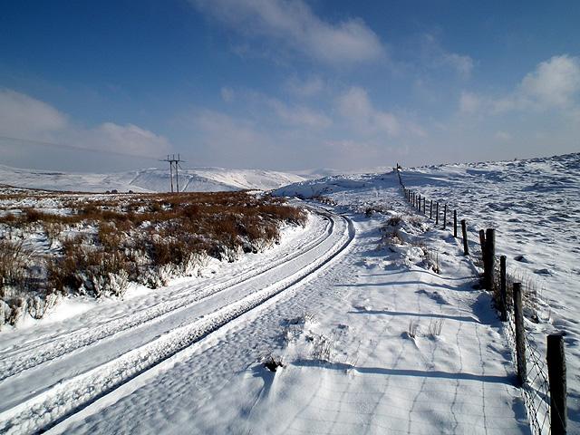 Fence line at Yr Ochrydd on the slopes of Foel Wyddon