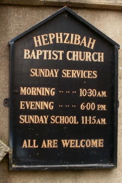 Hephzibah Baptist Church nameboard, Bedwas