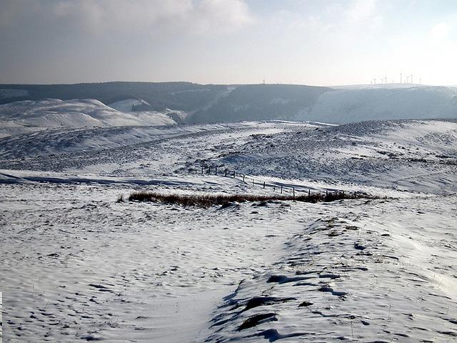 Bleak landscape across Foel Wyddon