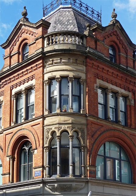 Detail of former market offices, High Street, Manchester