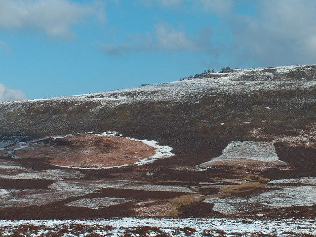 View across Stainery Clough to The Rocking Stones
