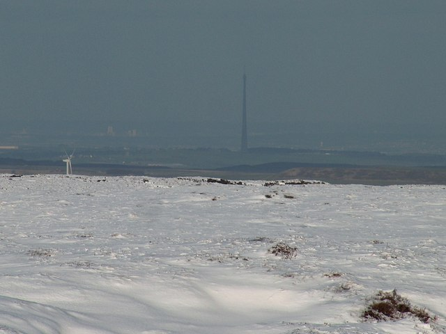 View from Howden Moor towards the Emley Moor mast