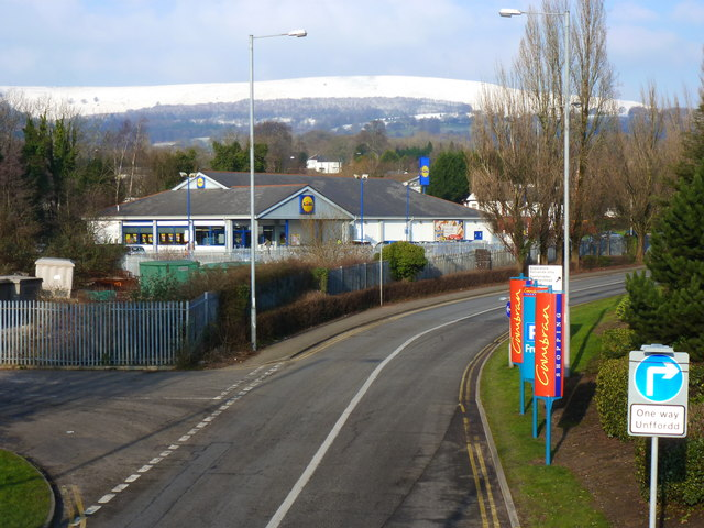 Llewelyn Road and Lidl's supermarket, Cwmbran