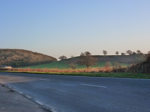 The B4245 and view, from lay-by near Wilcrick