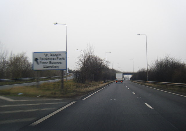 A55 westbound, west of St Asaph
