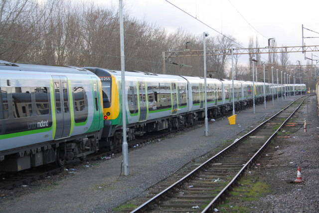 EMUs stabled beside Northampton station