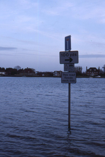 Bosham: warning sign where the road skirts the Channel