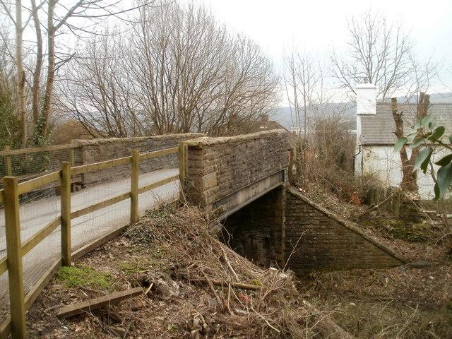 Side view of a road bridge across a dismantled railway, Bedwas