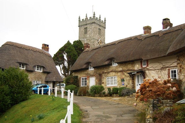 Church tower and thatch in Godshill