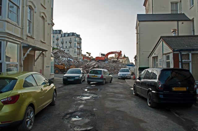A demolished Collingwood Hotel as seen from Gilbert Grove