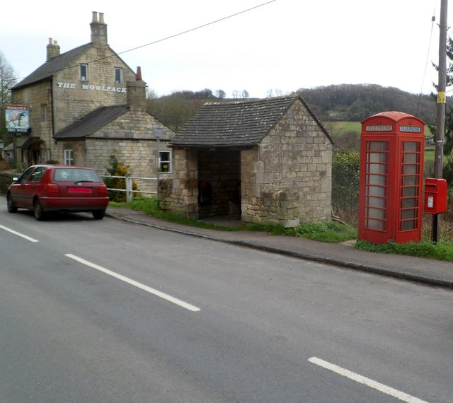 Postbox, phonebox and bus shelter, Slad