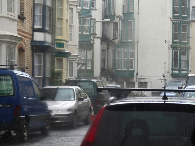 The Collingwood Hotel as seen through the rain from Gilbert Grove
