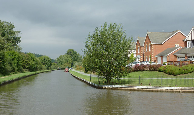 Canal and housing near Meaford, Staffordshire