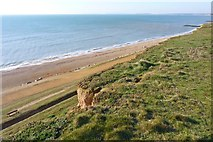 SZ2492 : Cliff and Beach at Barton East by Mike Smith
