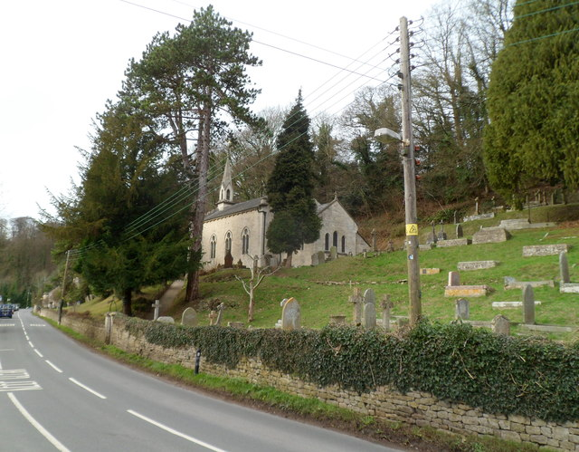 Side view of church and churchyard, Slad