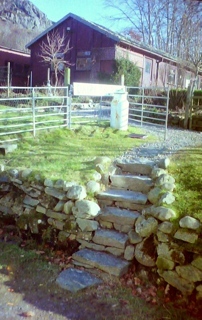 Rustic steps at West Highland Dairy