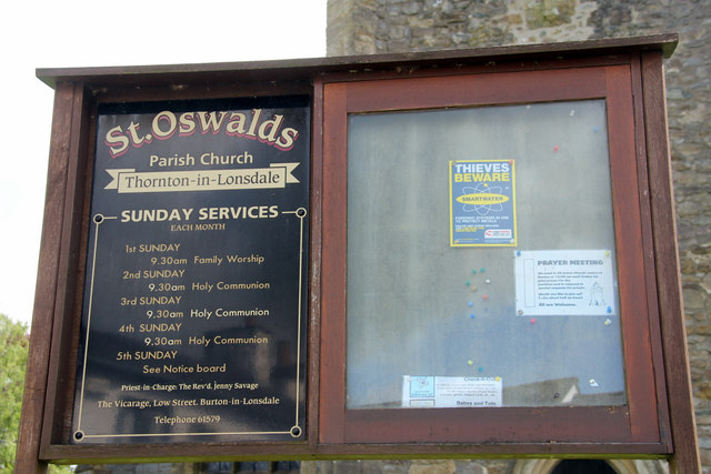 Notice Board, St Oswald's Church, Thornton in Lonsdale, Yorkshire