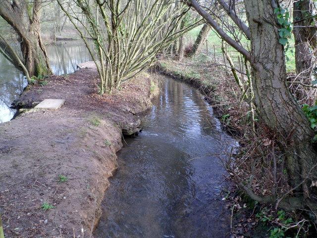 Slad Brook flows past a pond
