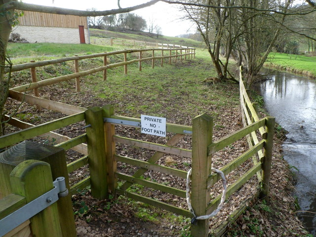 Private - no footpath along the bank of Slad Brook