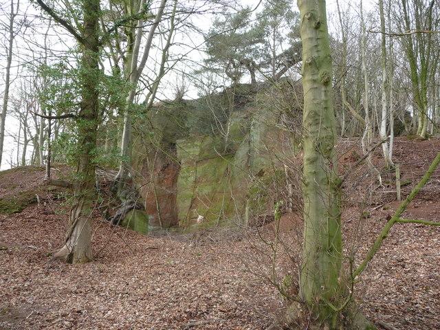 Old quarry face near Webscott
