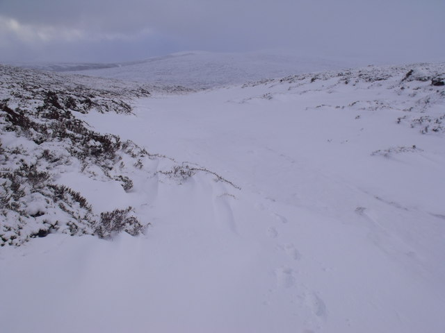 Snowed-up tributary of Caochan Odhar east of Bynack More