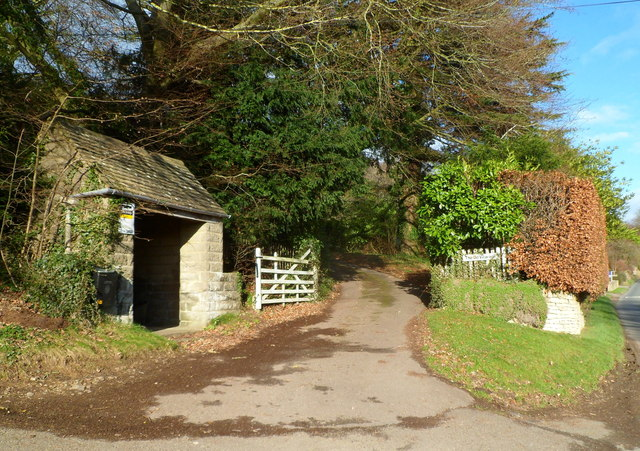 Bus shelter at the entrance to The Old Vicarage, Slad