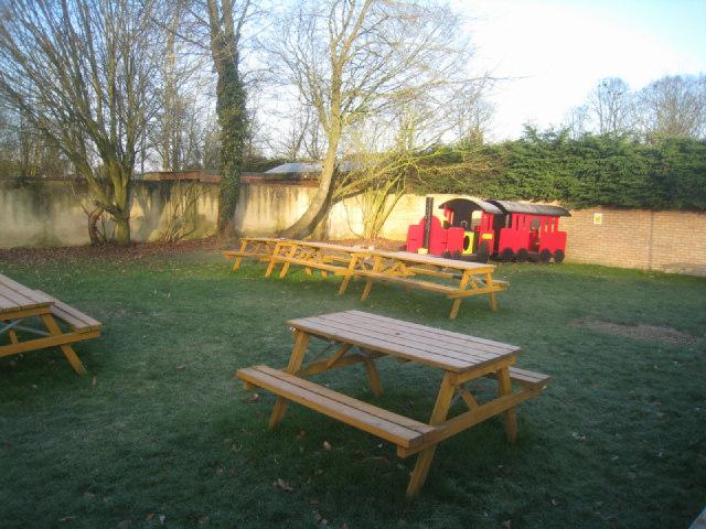 Sunlit pub garden