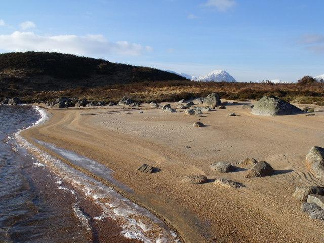 Winter beach on Loch Ba on Rannoch Moor