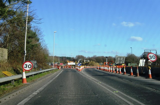Road works, Canford Bottom