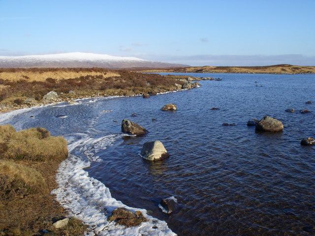 Ice-lined bay on Loch Ba on Rannoch Moor