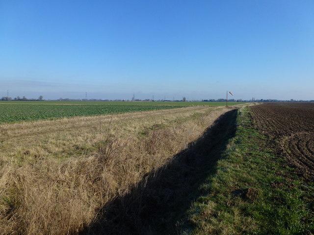 Dike and Farmland on Moorditch Field