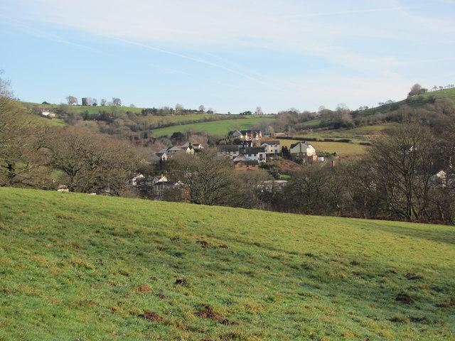 View over fields towards Llangeinor