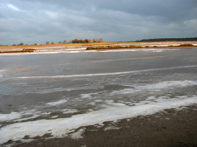 View across frozen Angel Marshes, Blythburgh