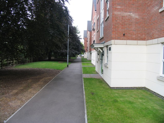 Footpath in front of  houses off Valiant Way