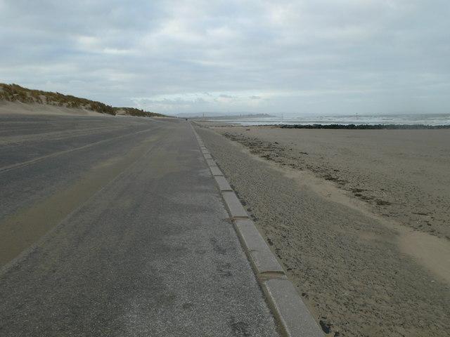 Deserted promenade at Ffrith Beach