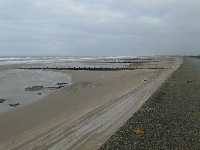 Deserted beach between Rhyl and Prestatyn