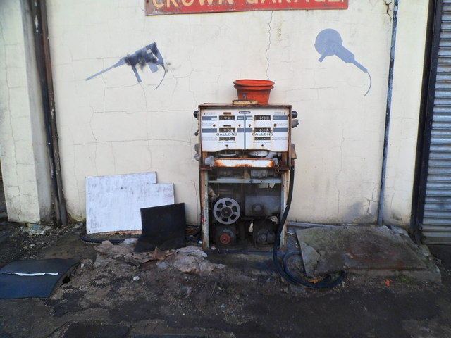 The inside of an old petrol pump, Crown Garage, Ynyswen