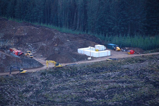 Temporary works compound for new forestry road