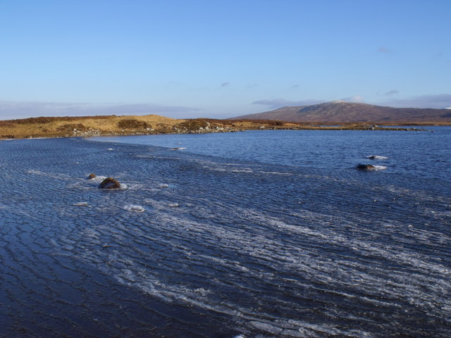 Ice collected by wind in a bay of Loch Ba on Rannoch Moor