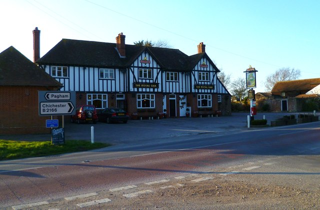 Road junction and public house at Lagness