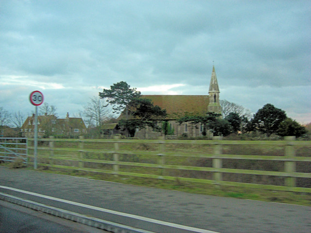 Rye Harbour Church from Harbour Road
