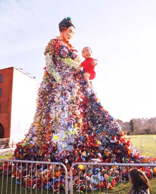 Statue made of flowers